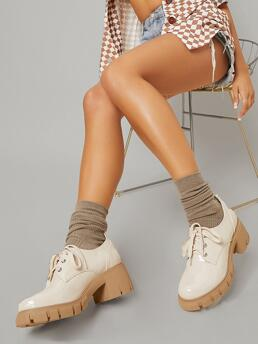 Beige Oxfords Lace up Round Toe Faux Patent Leather Oxford Shoes on Sale