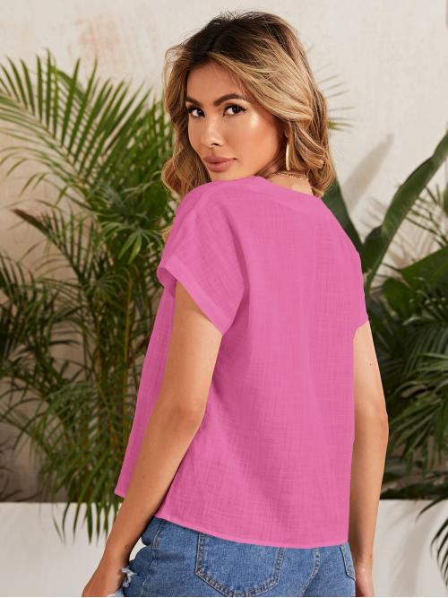 Short Sleeve Top Cotton Plain Solid Top Affordable