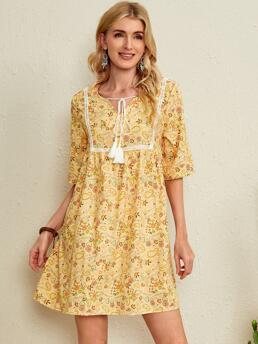 Trending now Yellow all over Print Knot Tie Neck Emery Rose and Paisley Tassel Babydoll Dress