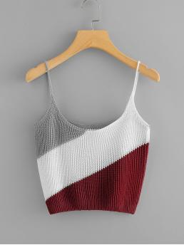 Casual Cami Colorblock Regular Fit Scoop Neck and Spaghetti Strap Multicolor Crop Length Color Block Knit Cami Top