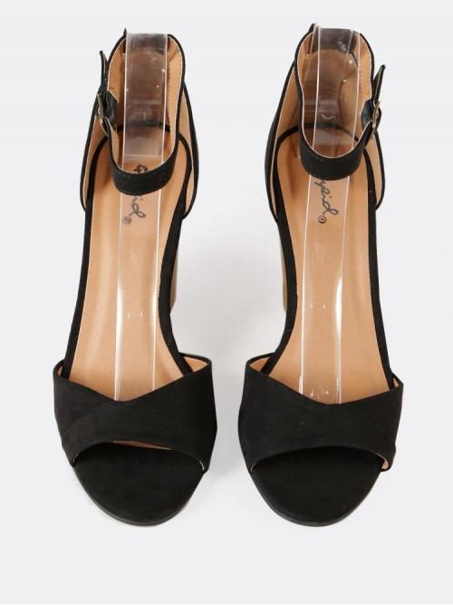 Corduroy Black Mules Scallop Faux Ankle Wedge Sandal Trending now