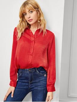 Long Sleeve Shirt Wrap Polyester Solid Curved Hem Shirt on Sale