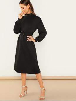 Plain Straight Loose Stand Collar Long Sleeve Natural Black Midi Length Mock Neck Self Belted Solid Dress with Belt