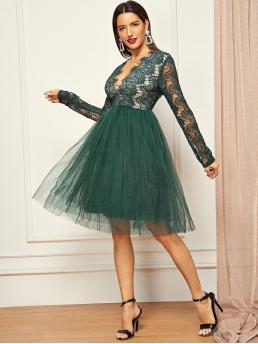 Trending now Dark Green Plain Sheer Deep V Neck Plunging Eyelash Lace Bodice Tulle Dress