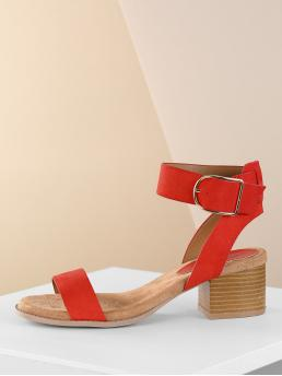 Plain Ankle Strap Red Mid Heel Chunky One Band Ankle Strap Open Toe Stack Heel Sandals