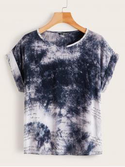 Boho Tie Dye and Slogan Top Regular Fit Round Neck Short Sleeve Roll Up Sleeve Pullovers Multicolor Regular Length Slogan Tie Dye Print Cuffed Sleeve Top