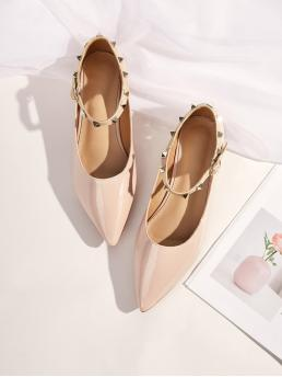 Glamorous Apricot Point Toe Studded Buckle Strap Flats