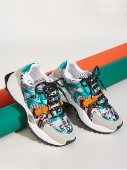 Comfort Round Toe Multicolor Lace-up Front Chunky Sneakers