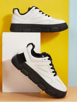 Comfort Round Toe White Lace-up Front Faux Fur Lined Sneakers