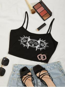 Cami Polyester Tribal Black Cartoon Sun Graphic Top Affordable