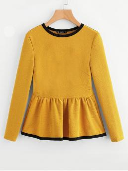 Long Sleeve Peplum Contrast Binding Polyester Textured Top Shopping