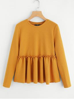 Cute Plain Top Regular Fit Round Neck Long Sleeve Yellow Frilled Detail Textured Smock Top