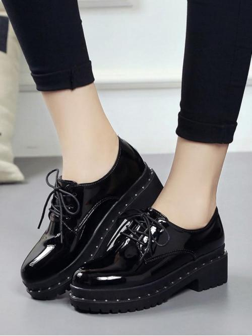 Beautiful Corduroy Black Stretch Boots Studded Patent Leather Oxfords