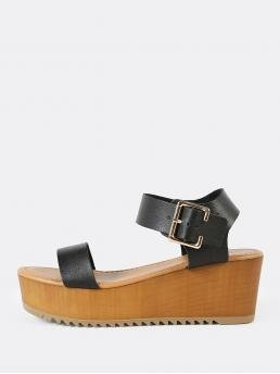 Fashion Corduroy Black Flatfrom Shoes Studded Thick Buckled Ankle Single Band Wedge Sandal
