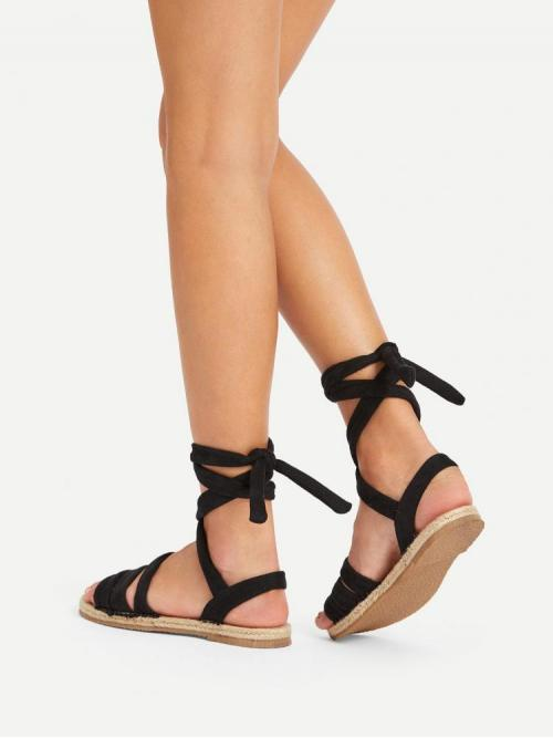 Corduroy Black Gladiator Sandals Studded Tie Legpy Flat Sandals Shopping