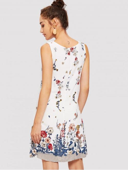 Multicolor Floral Frill Round Neck Tank Dress Sale