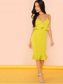 Elegant Cami Plain Mermaid Slim Fit Deep V Neck and Spaghetti Strap Sleeveless Natural Yellow and Bright Midi Length Peplum Cami Dress