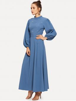 Glamorous and Sexy A Line Plain Regular Fit Stand Collar Long Sleeve Bishop Sleeve High Waist Blue Maxi Length Mock Neck Pearl Embellished Open Back Maxi Dress