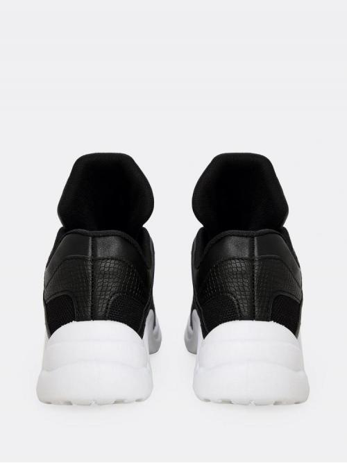 Discount Corduroy Black Slip on Zipper Mesh and Faux Leather Sneakers