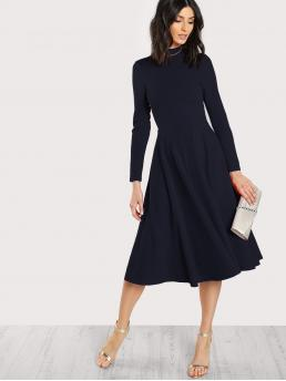 Sale Navy Blue Plain Button High Neck Mock Neck Keyhole Back Flare Dress
