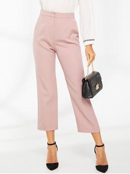 Elegant Plain Straight Leg Regular Zipper Fly High Waist Pink Cropped Length Cropped Solid Tailored Pants