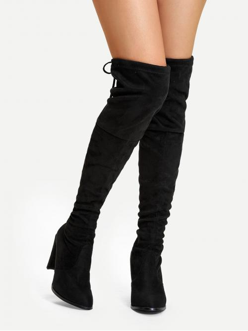 Sock Boots Point Toe Plain No zipper Black High Heel Chunky Suede Over The Knee Plain Boots