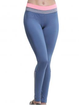 Sporty Regular Colorblock Blue Cropped Length Zoano Mesh Insert Heather Grey Panel Leggings