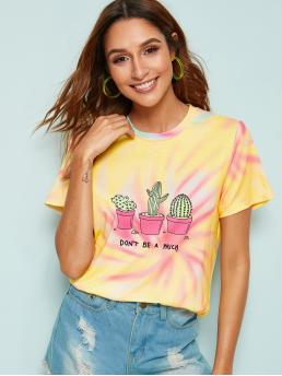 Casual Tie Dye and Plants Regular Fit Round Neck Short Sleeve Pullovers Multicolor Regular Length Letter And Cactus Print Tee