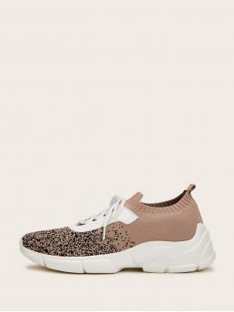 Comfort Multicolor Lace-up Front Knit Sneakers