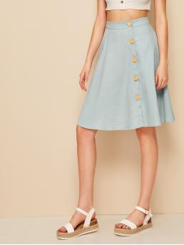Casual A Line Plain High Waist Blue and Pastel Midi Length Button Up Circle Skirt