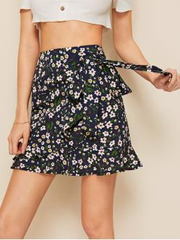 Boho Wrap Ditsy Floral High Waist Multicolor Mini Length Ditsy Floral Ruffle Trim Tie Side Skirt