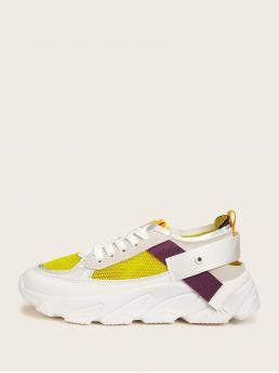 Comfort Round Toe Yellow Lace-up Front Mesh Trainers
