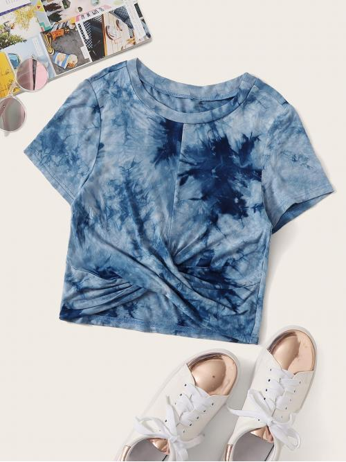 Casual Tie Dye Slim Fit Round Neck Short Sleeve Pullovers Blue Regular Length Tie Dye Twist Hem Tee