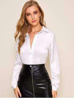 Elegant Plain Shirt Regular Fit Collar Long Sleeve Regular Sleeve Placket White Regular Length Solid Button Front Satin Blouse