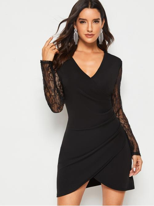 Elegant Fitted Plain Asymmetrical Regular Fit V neck Long Sleeve Black Short Length Contrast Lace Sleeve Asymmetrical Hem Dress