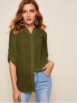 Casual Plain Asymmetrical Shirt Regular Fit Notched Three Quarter Length Sleeve Roll Up Sleeve Placket Army Green Longline Length Solid Tab Sleeve High Low Curved Shirt