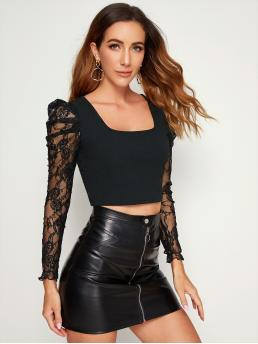 Elegant Plain Slim Fit Square Neck Long Sleeve Leg-of-mutton Sleeve Pullovers Black Crop Length Lace Gigot Sleeve Cropped Top
