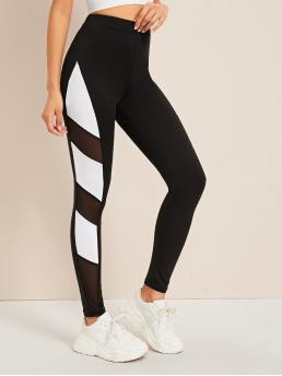 Sporty Regular Colorblock Black Long Length Contrast Mesh High Rise Leggings