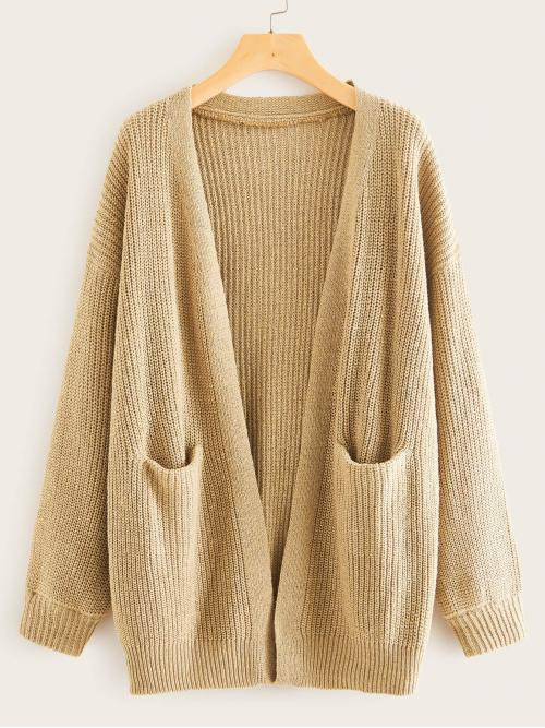 Casual Coat Plain Oversized Long Sleeve Regular Sleeve Khaki Longline Length Open Front Double Pocket Cardigan