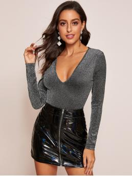 Glamorous and Sexy Plain Slim Fit V neck Long Sleeve Regular Sleeve Pullovers Grey Regular Length Plunging Neck Glitter Top
