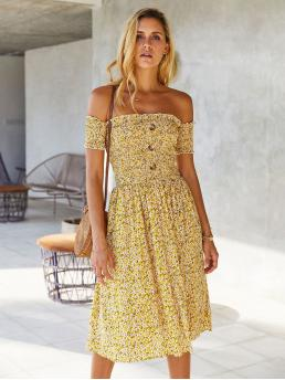 Boho A Line Ditsy Floral Flared Regular Fit Off the Shoulder Short Sleeve High Waist Yellow Midi Length Ditsy Floral Shirred Bodice Bardot Dress with Lining