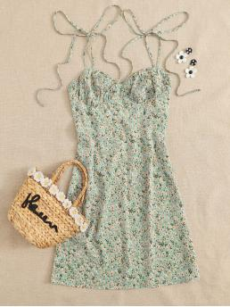 Boho Cami Ditsy Floral Flared Regular Fit Spaghetti Strap Sleeveless High Waist Green Short Length Knotted Shoulder Ruched Bust Ditsy Floral Cami Dress