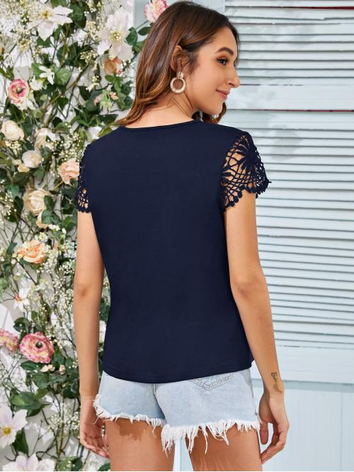 Shopping Cap Sleeve Shirt Contrast Lace Polyester Keyhole Neck Guipure Lace Sleeve Top