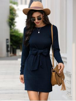 Women's Navy Blue Plain Tie Front Round Neck Ribbed Self-tie Bow Front Dress