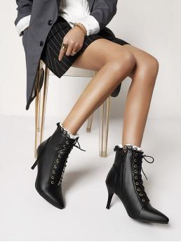 Ladies Black Booties High Heel Stiletto Lace-up Front Lace Trim