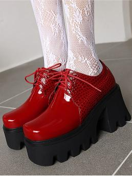 Red Oxfords High Heel Chunky Patent Heeled Oxford Shoes Ladies