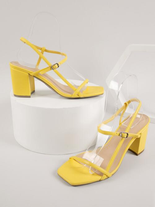 Cheap Yellow Strappy Sandals Buckle High Heel Faux Leather Open-toe Block Heels