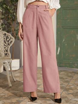 Dusty Pink High Waist Pocket Wide Leg Fly Solid Pants on Sale
