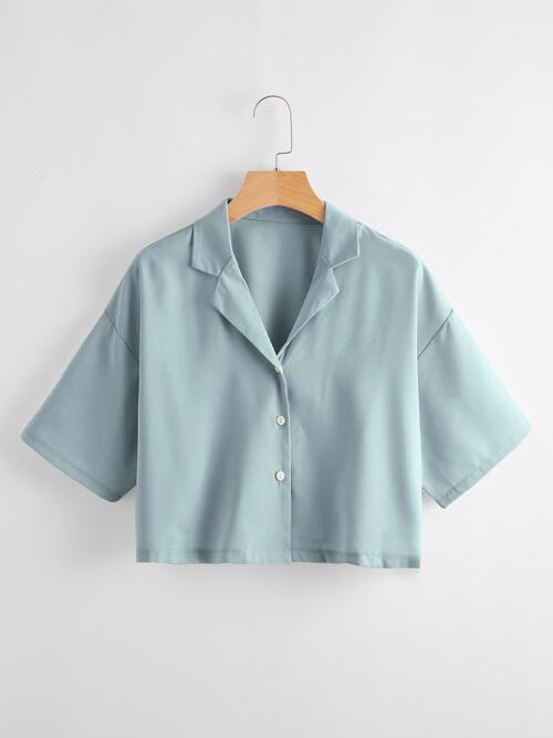 Half Sleeve Shirt Button Front Polyester Solid Blouse on Sale