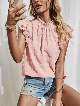 Discount Cap Sleeve Top Frill Polyester Layered Sleeve Swiss Dot Top